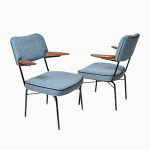 Blue Fabric Armchairs, Hungary, 1960s, Set of 2