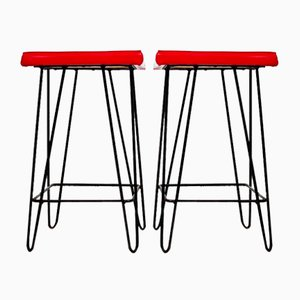 Iron Frame Stools with Vinyl Seats, Hungary, 1960s, Set of 2