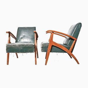 Green Leather Armchairs, 1950s, Hungary, Set of 2