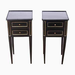 Antique Ebonised Nightstands, Set of 2