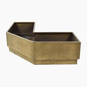 Large Vintage Corner Planter in Brass, 1980s