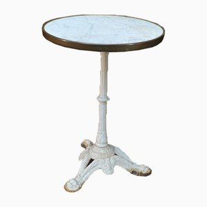 Bistro Table with Marble Rimmed Brass, 1920s