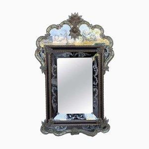 Specchio rettangolare con ripiano a forma di cresta