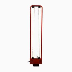 Lampada da terra fluorescente rossa di Gian Nicola Gigante per Zerbetto, anni '80