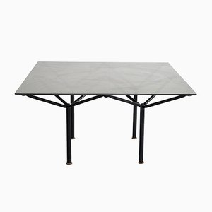 Black Lacquered Dining Table with Metal Structure, 1980s