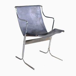 Leder Schaukelstuhl mit Stahlgestell, 1960er