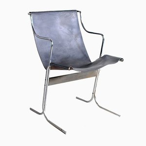 Rocking Chair en Cuir avec Structure en Acier, 1960s