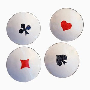 Enamelled Bowls with Playing Cards Motif, 1960s, Set of 4