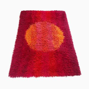 Abstract Scandinavian High Pile Panton Style Rya Rug Carpet, Sweden, 1970s