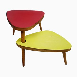 Double Leaf Side / Plant Table in Red and Yellow Formica, 1950s
