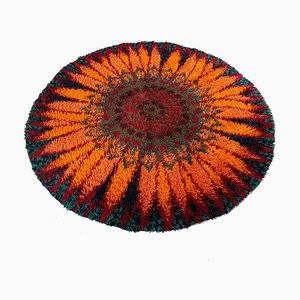 Large Danish High Pile Psychedelic Rya Rug by Ege Taepper Deluxe, 1970s