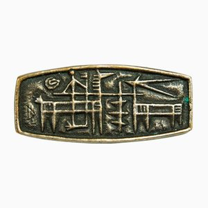 Mid-Century Silver Plated Brass Brooch with Archaic Motif by Laszlo Domotor, 1970s