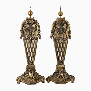 Antique English Victorian Brass Peacock Fire Screens, Set of 2