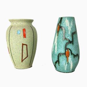 Vases Vintage en Poterie Fait de Scheurich, Allemagne, 1960s, Set de 2