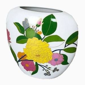 Colorful Art Vase Floral Porcelain Vase by W. Bauer for Rosenthal, Germany, 1970s