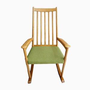 Dänischer Schaukelstuhl mit Sitz aus Grünem Stoff, 1960er