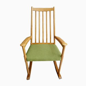 Danish Rocking Chair with Green Fabric Seat, 1960s