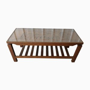 Mid-Century Carved Wood Glass Topped Coffee Table