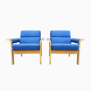 Blue Lounge Chairs by Rud Thygesen and Johnny Sørensen for Magnus Olesen, Denmark, 1970s, Set of 2