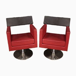 Italian Faux Leather Armchairs, 1970s, Set of 2