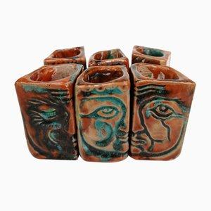 Ceramic Liqueur Glasses, 1970s, Set of 6