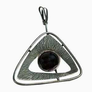 Mi-siècle de cuivre plaqué argent Pendentif Collier avec émail noir des yeux, des années 1970