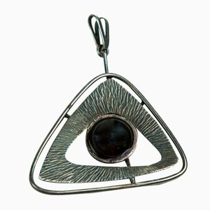 Mid-Century Silver Plated Copper Pendant with Black Enamel Eye, 1970s