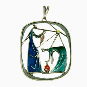Mid-Century Enameled Bronze Artwork Necklace Pendant, 1970s