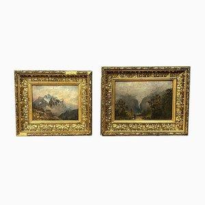 Dipinto ad olio su tavola, veduta delle Alpi in autunno e inverno, set di 2
