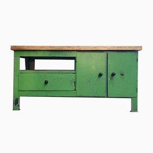 Inustrial Steel Green Kitchen Workbench, 1960s