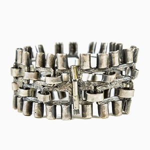 Handcrafted Brutalist Silver Plated Bracelet by Valeria Val, 1970s