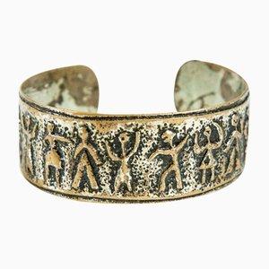 Bracelet Mid-Century Fait Main en Cuivre Plaqué Argent avec Frise Figurative, 1970s
