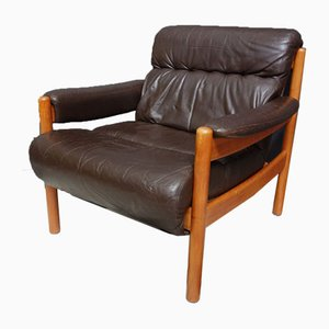 Relaxsessel aus Braunem Leder, 1960er