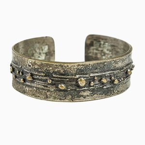Handcrafted Mid-Century Silver Plated Copper Bracelet, 1970s