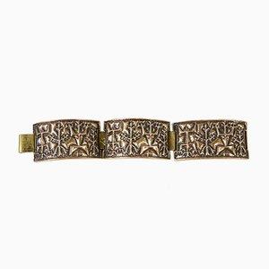 Handgefertigtes Mid-Century Kupfer Armband mit archaischem Muster von Laszlo Domotor, 1970er