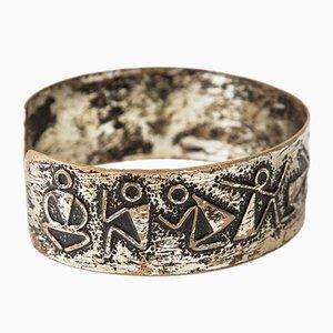 Handgemachtes versilbertes Mid-Century Kupferarmband, 1970er