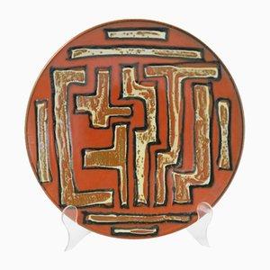 Assiette Murale Mid-Century en Céramique Peinte à la Main, 1970s