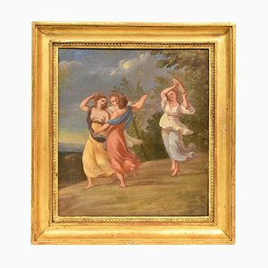 Antique Woman Portrait Painting, Muses Dancing, 18th Century, Oil Painting on Canvas
