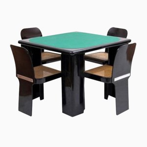 Game Table and Chairs by Molinari Pierluigi for Pozzi Milano, 1970s, Set of 5