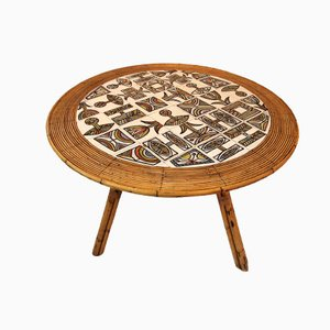 Bambus Tisch von A. Audoux & F. Minet mit Keramik Tischplatte von R. Capron, 1960er