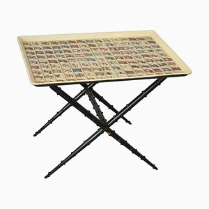 Table Basse Pliante par Atelier Fornasetti avec Plateau Drapeaux Amovibles par Piero Fornasetti, 1960s