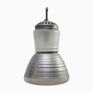 Industrielle Mid-Century Milchglas Hängelampe von Adolf Meyer für Zeiss Ikon