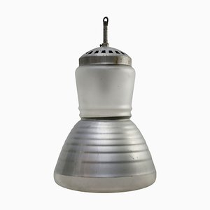 Mid-Century Industrial Frosted and Mercury Glass Pendant Lamp by Adolf Meyer for Zeiss Ikon