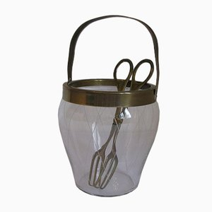 Vintage Glass & Brass Ice Bucket & Tong Set, 1950s