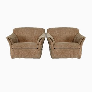 Velvet Caramel Armchairs, 1960s, France, Set of 2