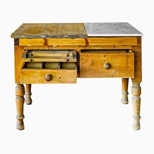Table de Boulanger Antique en Pin et Marbre, Angleterre