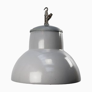 Mid-Century Grey Enamel Vintage Industrial Pendant Light from Philips