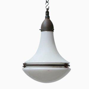 Lampe à Suspension en Verre Opalin par Peter Behrens pour Siemens, 1920s