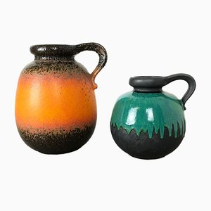 Pottery Fat Lava Model 484 Vases from Scheurich, Germany, 1970s, Set of 2