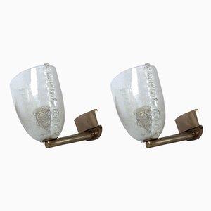Italian Murano Pulegoso Glass Wall Lamps from Venini, 1940s, Set of 2
